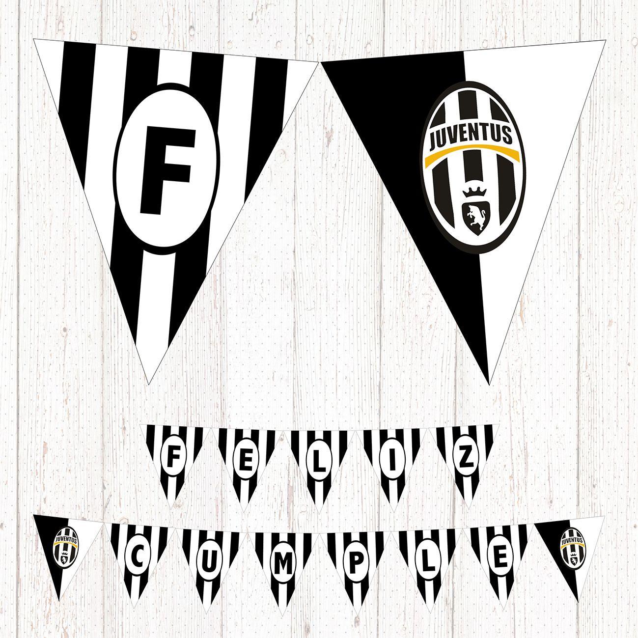 Juventus Banderín Imprimible Feliz Cumple Futbol