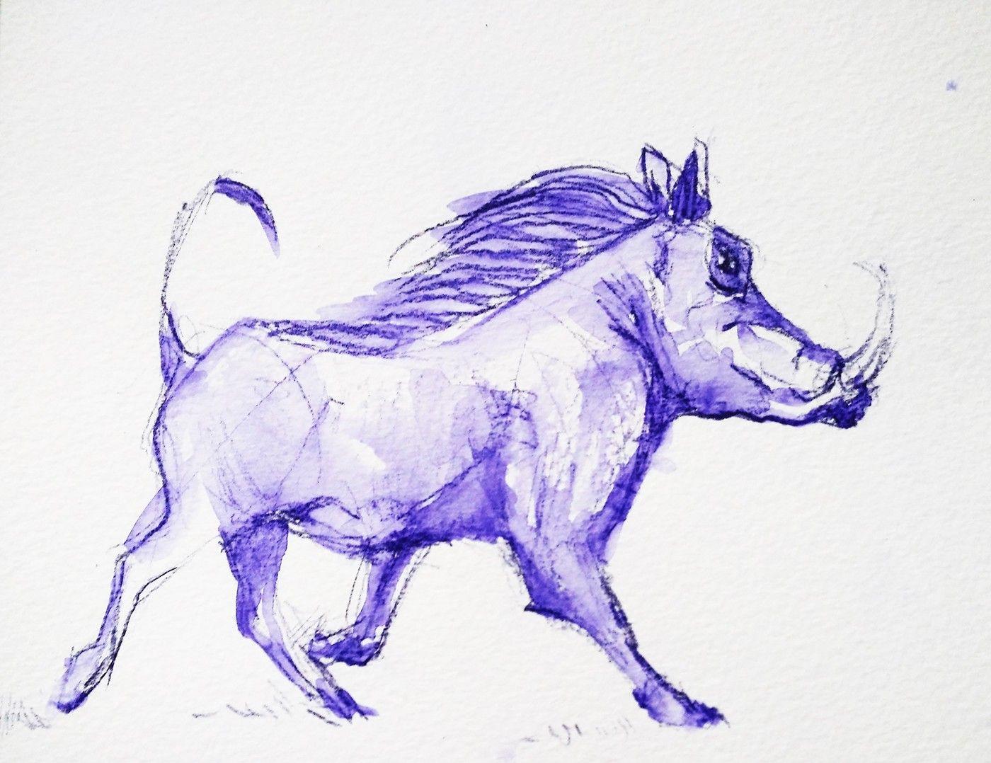 Book Warthog On Behance Chris Grant Warthog Wildlife Paintings Animal Drawings