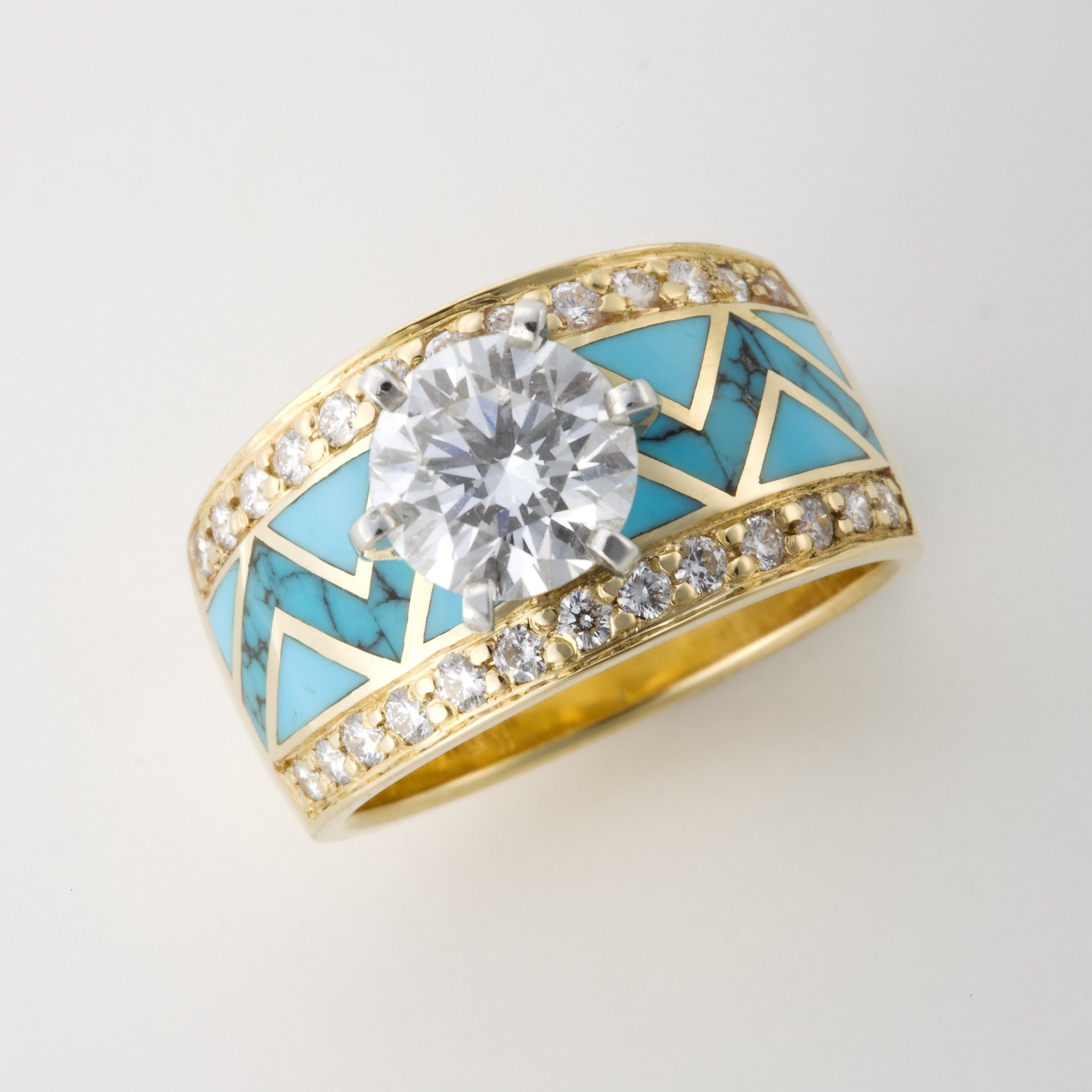River of Love Ring with Spider Web Turquoise Heart Line and Sleeping