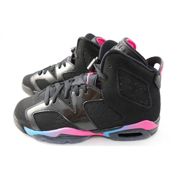 free shipping a998c a9b39 Air Jordan Retro 6 GS Black Pink Flash-Marina Blue ❤ liked on Polyvore  featuring shoes, jordans, sneakers, kid shoes and items