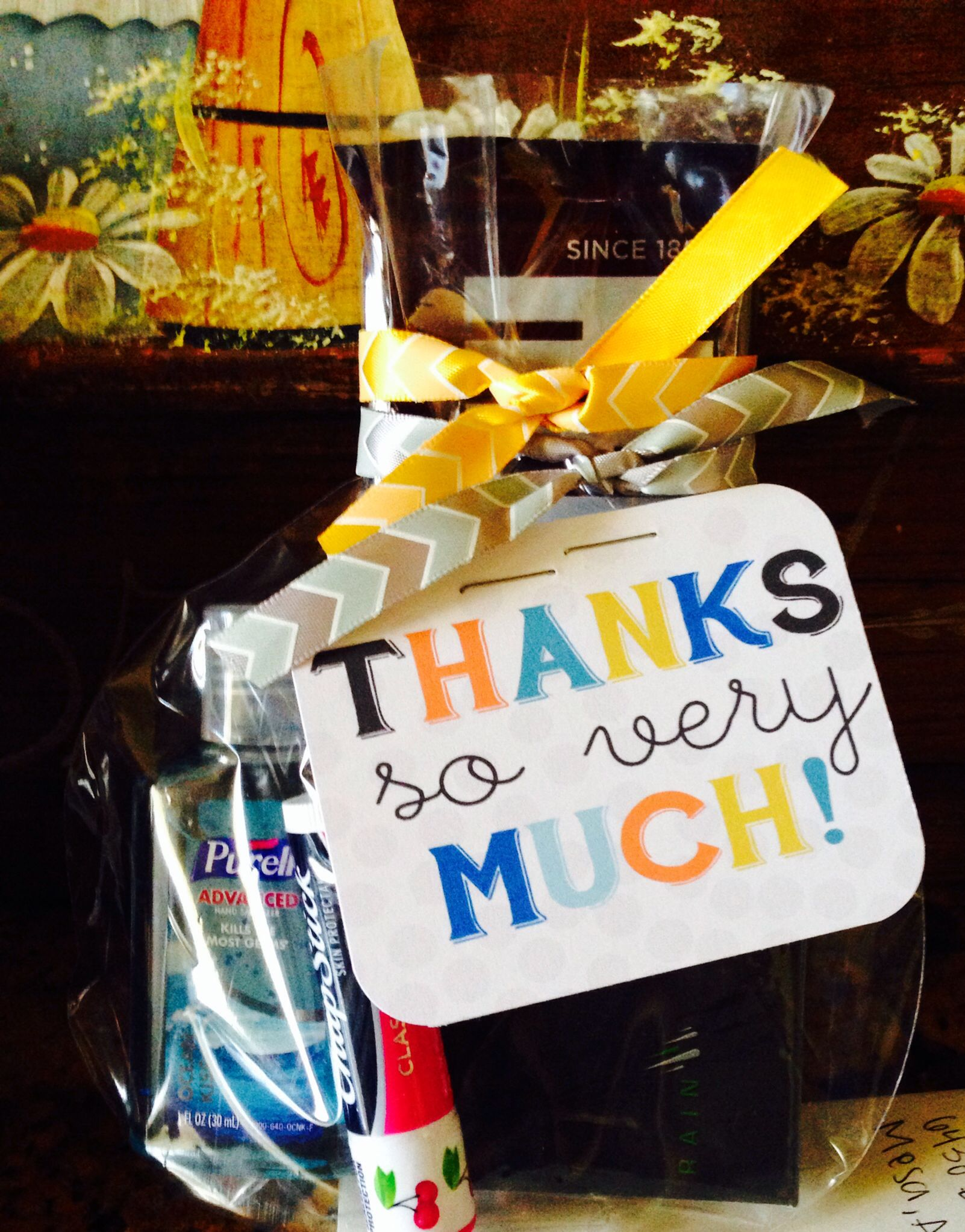 Thank You Bag In Masculine Colors Contents Chapstick Hand