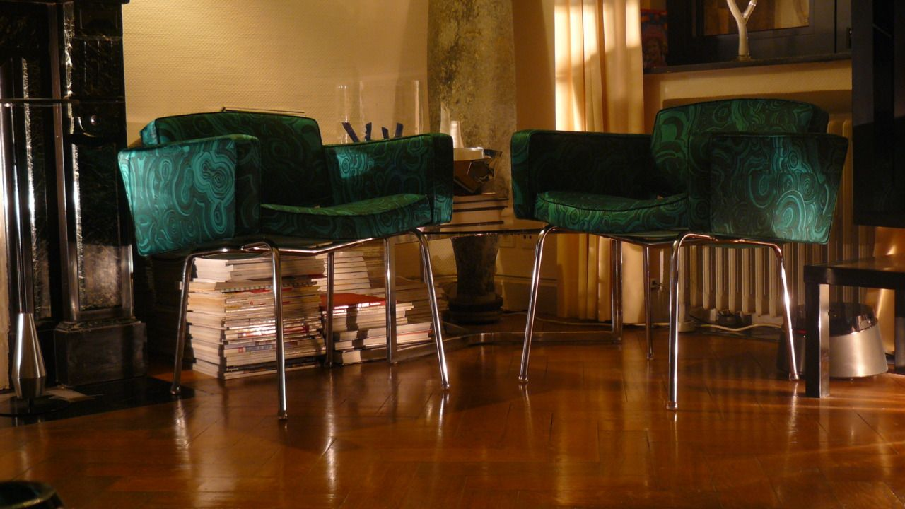 Pierre Guariche; Vinyl Armchair for Meurop, 1961.  Fabric: Gemstone,  TONY DUQUETTE, JIM THOMPSON 3325/04 EMERALD