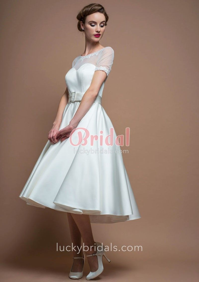 S inspired vintage wedding dress accenting with illusion sheer