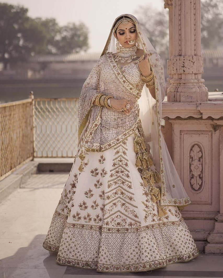 Ivory Gold Bridal Lehenga Indian Bridal Dress Indian Wedding Dress Indian Bridal Outfits
