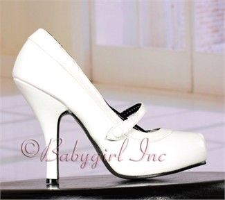 Retro Shoes - Cutiepie-02 White Patent Instep Strap Mary Jane Pumps with Shapely 4 1/2 inch Heel