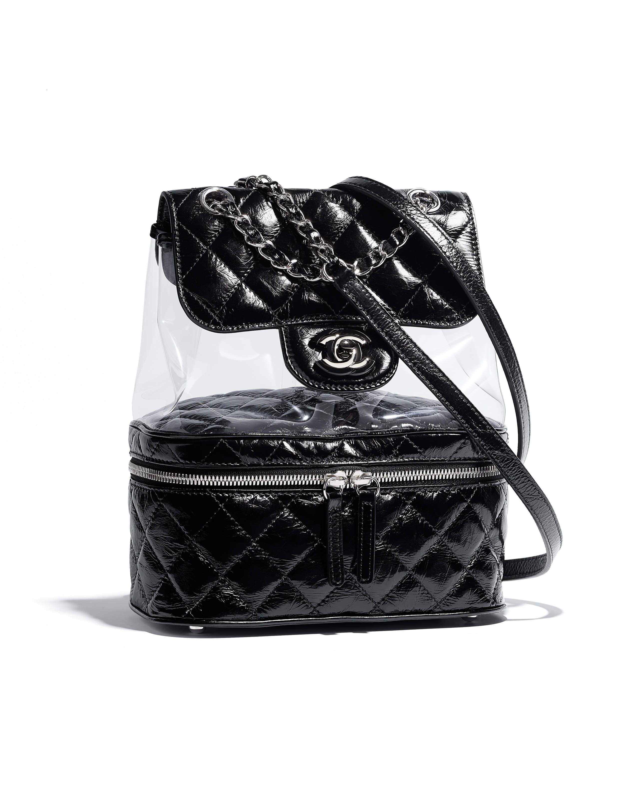 7208a6e93e4 Chanel - SS2018   Black PVC backpack   BAGS   Pinterest   Chanel ...