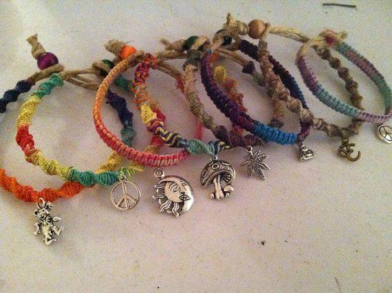 Hemp Friendship Charm Bracelets You Pick 2 Styles And Colors Peace Cans Buddha Ohm Aum Mushroom Grateful Dead Jewelry