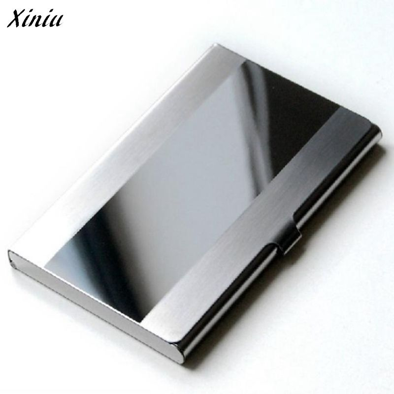 Xiniu 1 Pc Business Card Holder S Line Steel Silver Aluminium ...