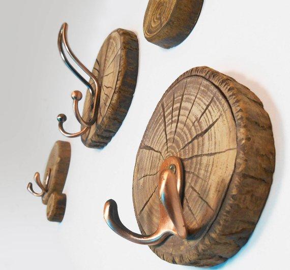 Cintre rustique ensemble de 3 tranches de rondins en bois naturel Cintre en bois Journaux de cuisine avec crochets Organisateur de porte d'entrée Cadeau pour femme Cadeau pour homme   – Home Sweet Home