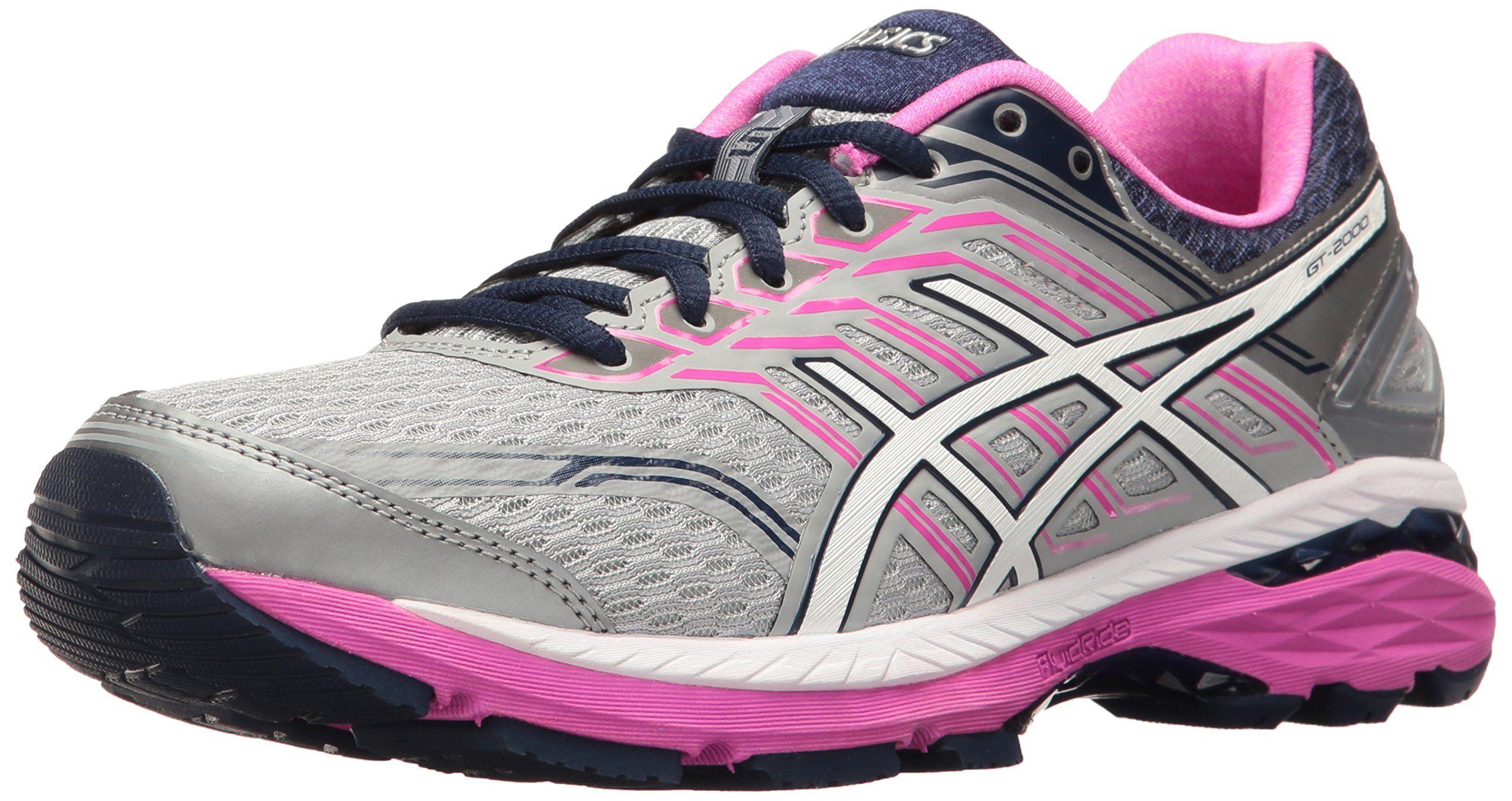 ASICS Women's GT-2000 5 Running Shoe, Mid Grey/White/Pink ...