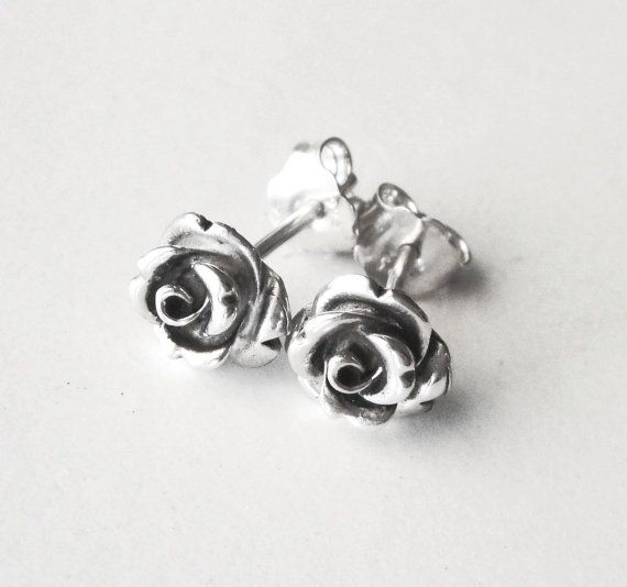 Rose Earrings Sterling Silver Studs Romantic Flower Earrings Dainty Studs Gift For Her Rose Stud Earrings Sterling Earrings Sterling Silver Earrings Studs
