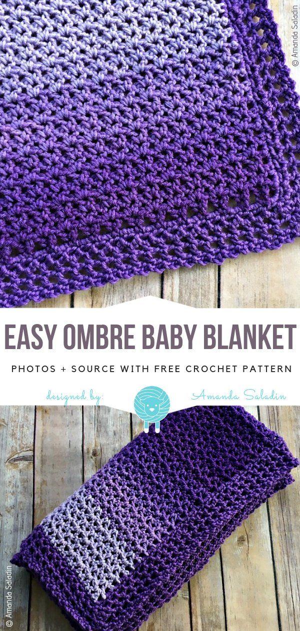 Crochet Ombre Blankets Free Crochet Patterns #babyyarn