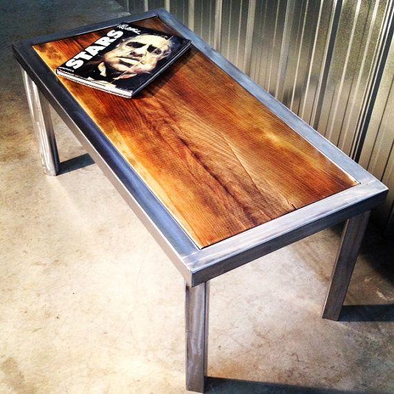 Handmade Modern Rustic Coffee Table With Reclaimed Wood Slab Top
