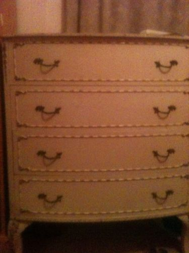 Vintage Louis XVI Olympus Original Cream Gilt Painted Bedroom Chest 4  Drawers. £150 :