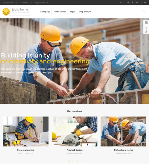 This construction WordPress theme features a responsive layout, WPML, bbPress, BuddyPress, and WooCommerce support, smooth scrolling, 150+ shortcodes, Revolution Slider, a pricing table plugin, and more.