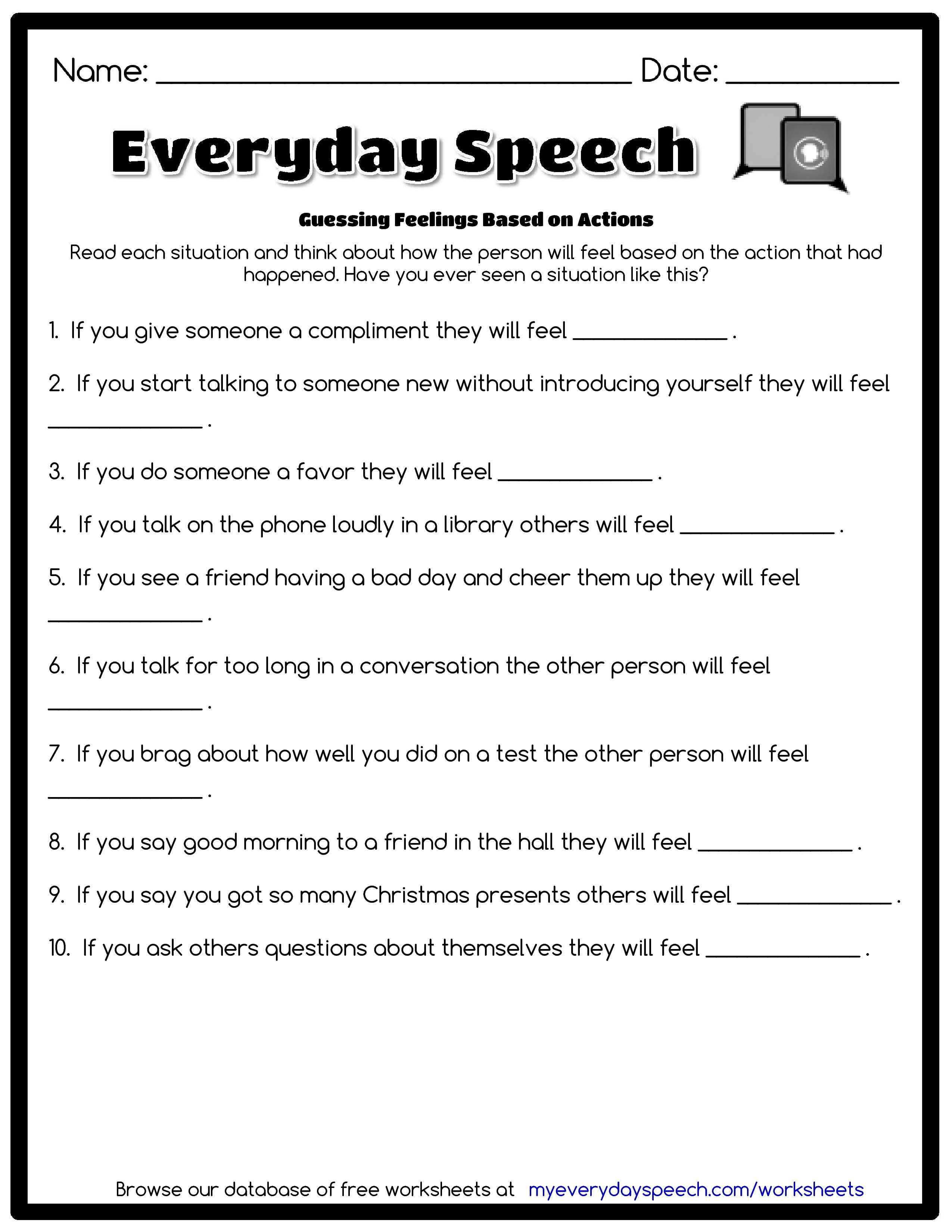Check Out The Worksheet I Just Made Using Everyday Speech S Worksheet Creator Guessing Feelings Bas Speech Therapy Worksheets How To Introduce Yourself Speech