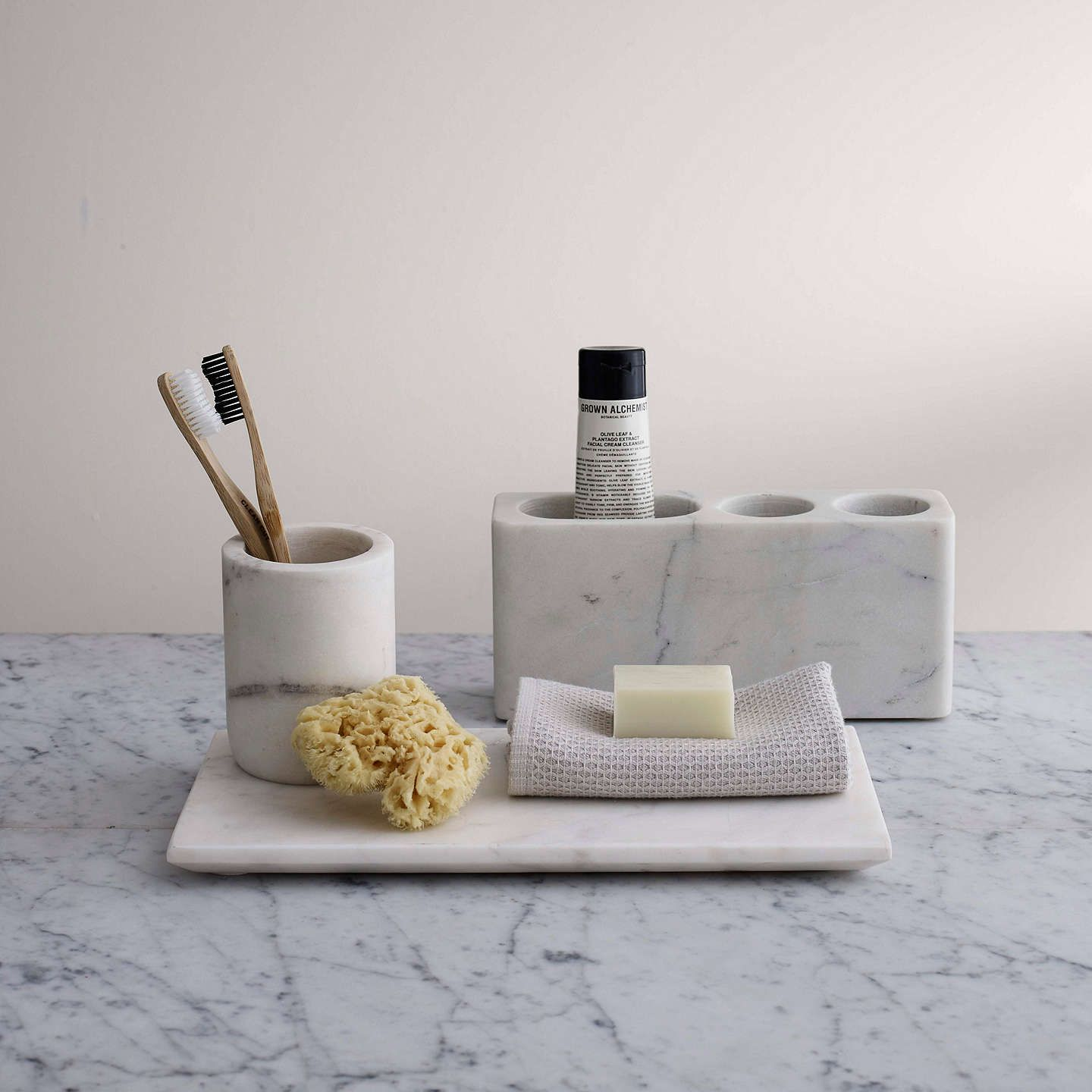 John Lewis & Partners White Marble Bathroom Accessories Tray | NTA ...