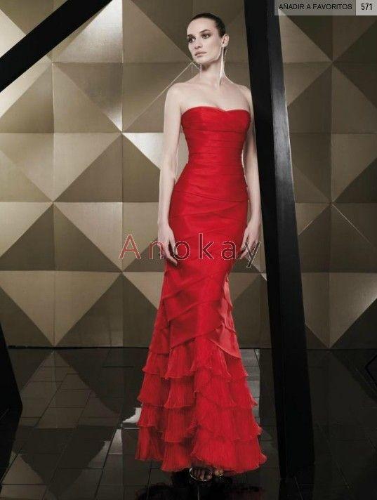 Trägerlos Rote A Line Organza Abendkleider PBE1305414