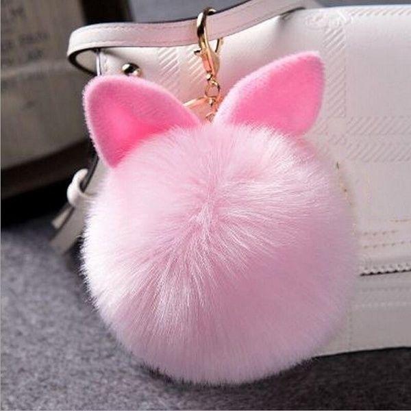 Rabbit Fur Pom-pom Key Chain Bag Charm Fluffy Puff Ball Bow Key Ring Car Pendant
