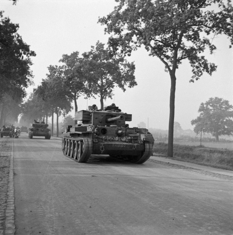 Tank photo. British Cromwell tanks on the road near the Dutch town of Aalst