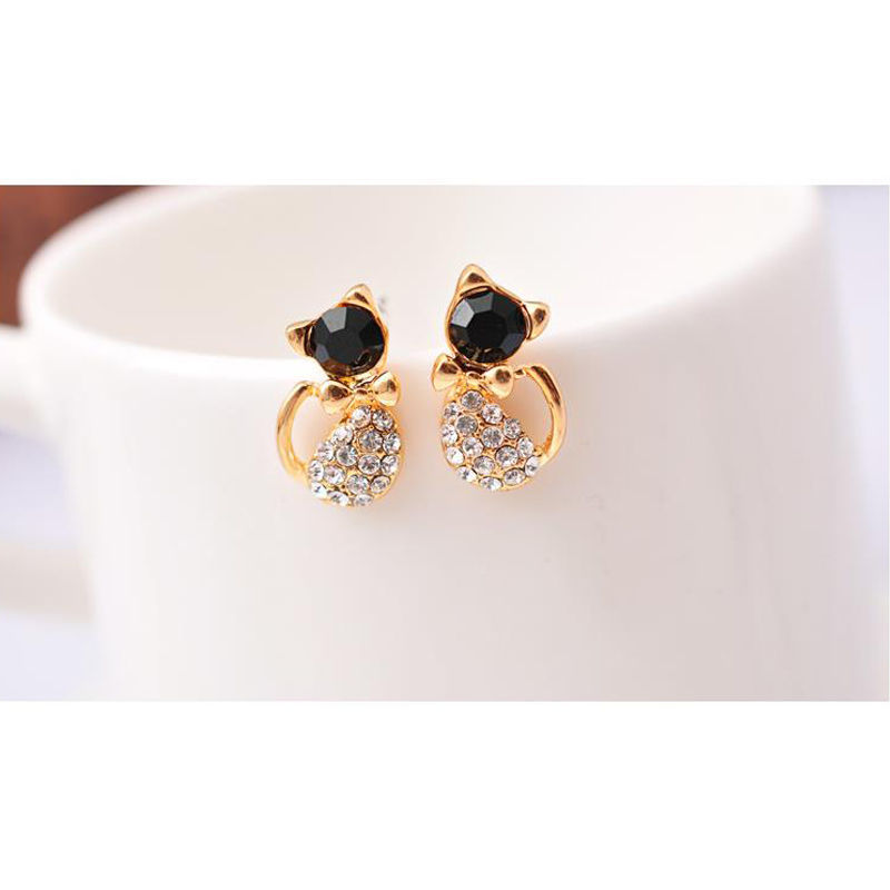 1 Pair Safety Baby Cat Stud Earrings Ear CZ Gold Plated Little ...