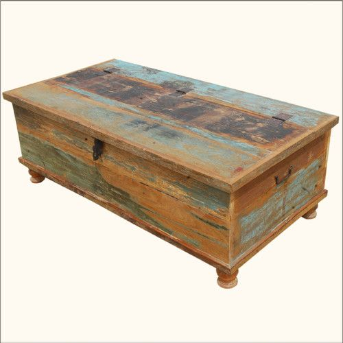 Trunk Coffee Table Reclaimed Wood Distressed Rustic Storage Box Chest Furniture Diy Wood Chest Diy Wood Box Coffee Table Wood