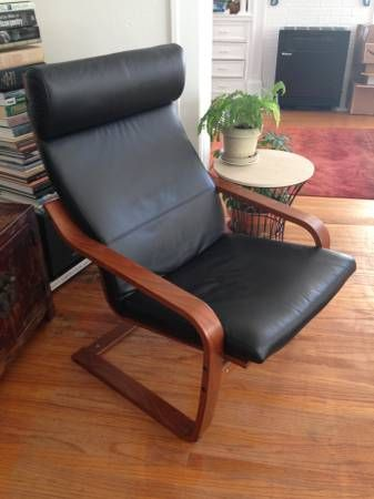 Ikea Poang Chair Black Leather Cushion And Medium Brown Frame