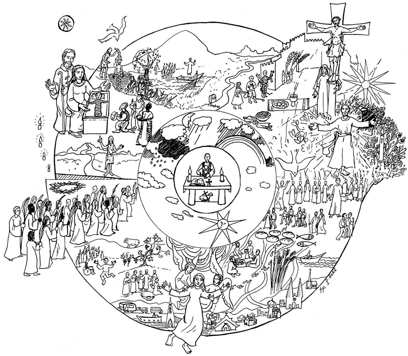 calendrier liturgique   Katholische kunst, Ausmalen, Ausmalbilder