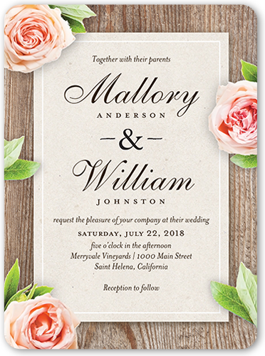 Love Blooms 6x8 Wedding Invitations by Yours Truly. Send guests a wedding invitation that perfectly expresses your style. All you need are the details of your big day.