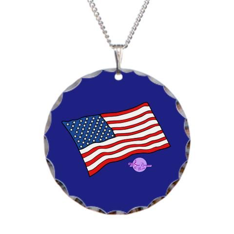American Flag Silver Round Necklace by MoonDreams music #AmericanFlag #silver #round #necklace #accessories #moondreamsmusic