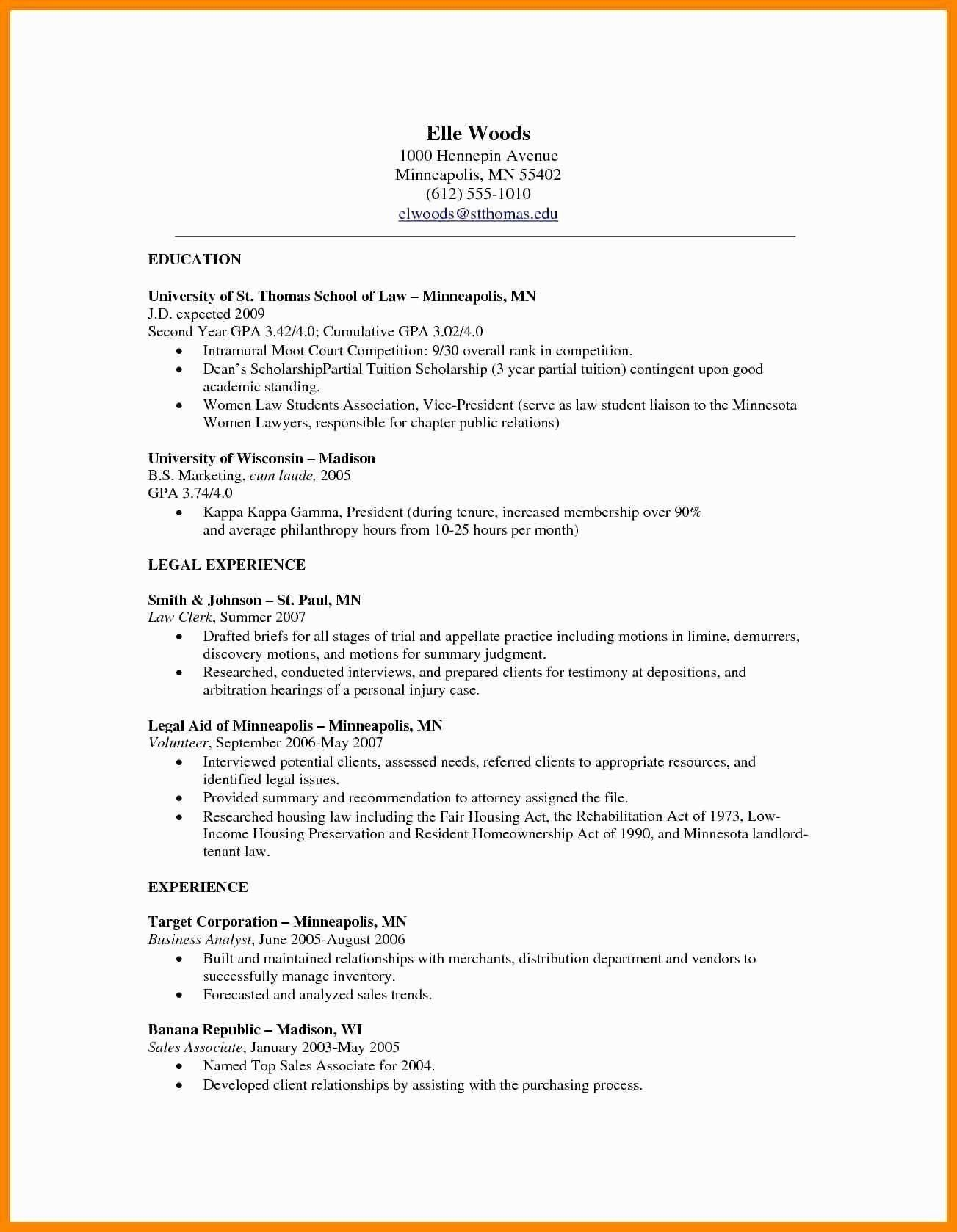 Law School Resume Template Inspirational Lawyer Resume