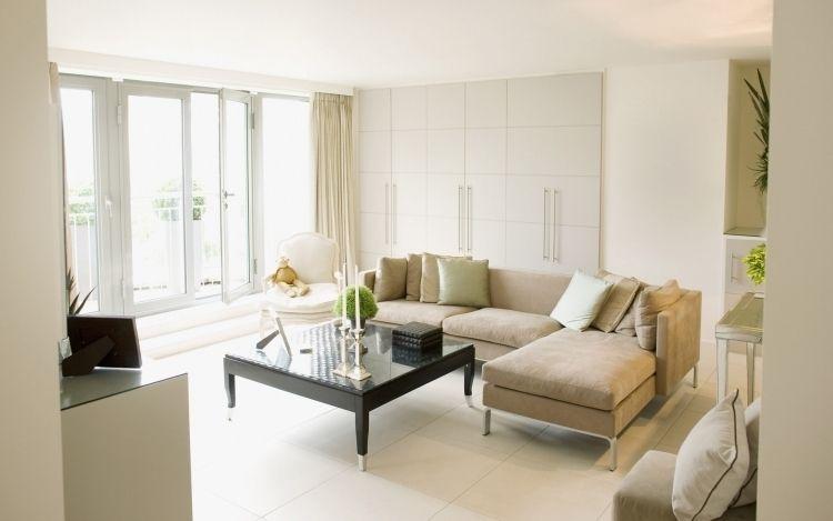 Feng Shui Wohnzimmer einrichten -positive-ecksofa-hell-polster - wohnzimmer ideen hell