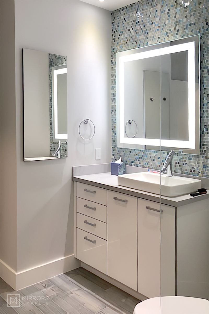 Front Lighted Led Bathroom Vanity Mirror 40 Washbasin Design Small Bathroom Decor Bathroom Interior