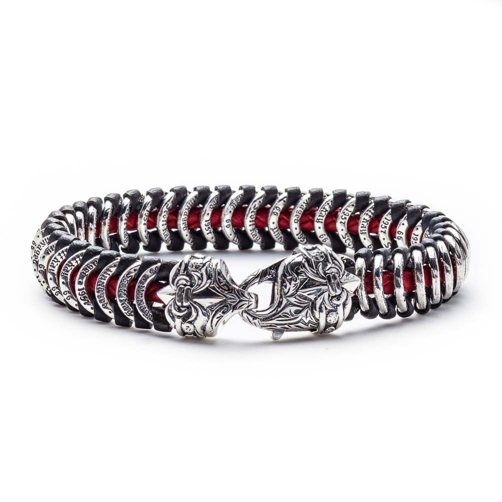 Scott Kay Red Leather and Sterling Silver 9 IN Samurai Mens