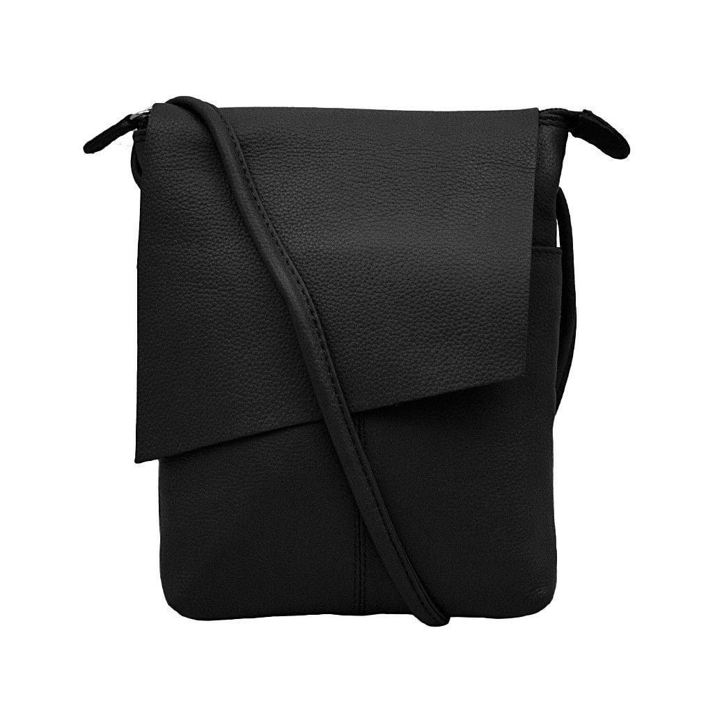 Leather Rawhide Black Flap Crossbody Bag