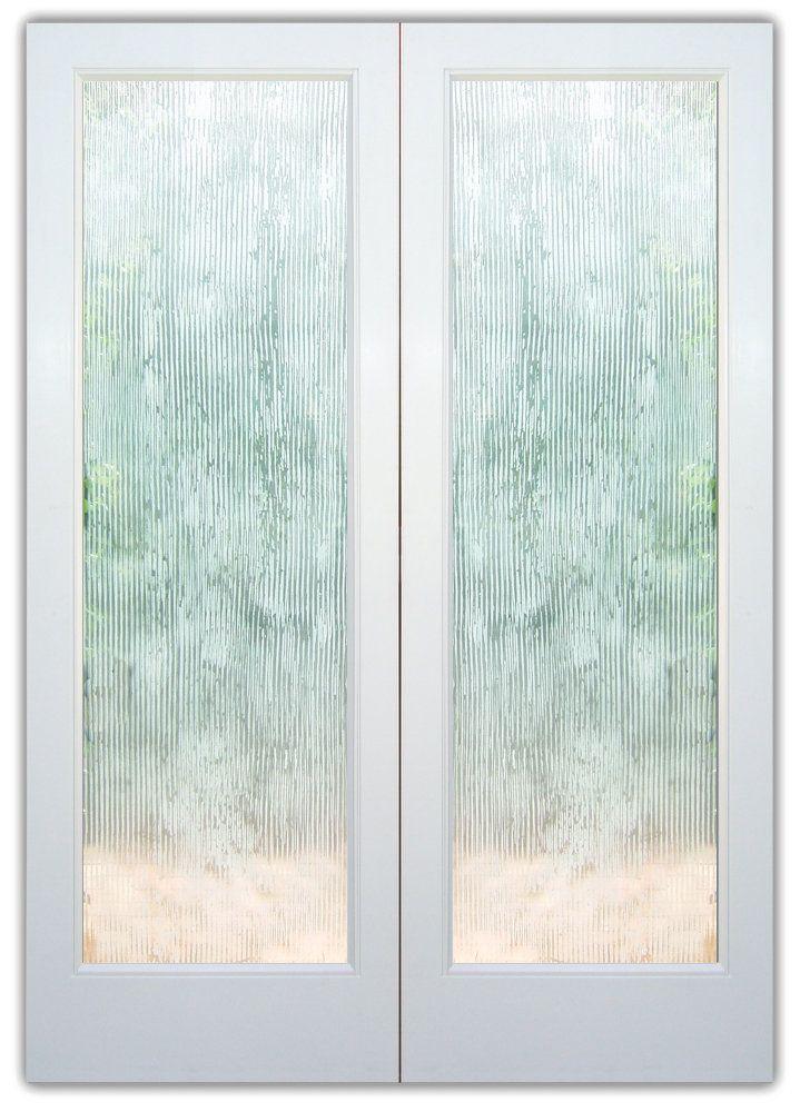 Double Glass Doors Frosted Glass Contemporary Design Chunky Texture
