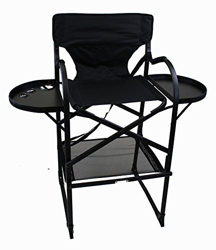 World Outdoor Products Professional MAKE UP PRO Tall Folding Directors Chair  With Two Side Folding Table