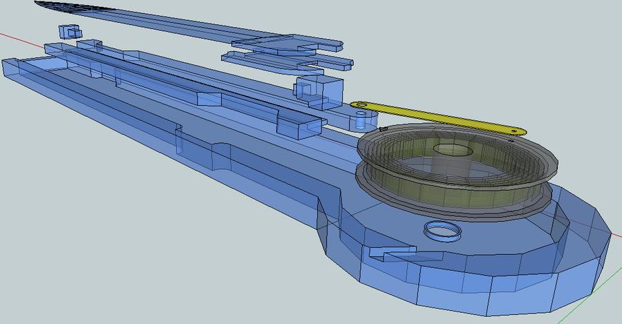 Plano tridimensional del modelo desarrollado - Vista de las partes separadas y en perpectiva.