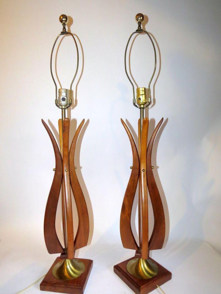 Pr Mid Century Modern Danish Wood Sculptural Art Vtg Table