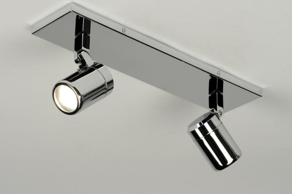 plafondlamp 87882: modern, metaal, rondchroom ...