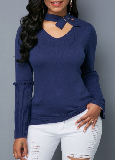 Trendy Cutout Front Metal Ring Flare Sleeve Navy Sweater