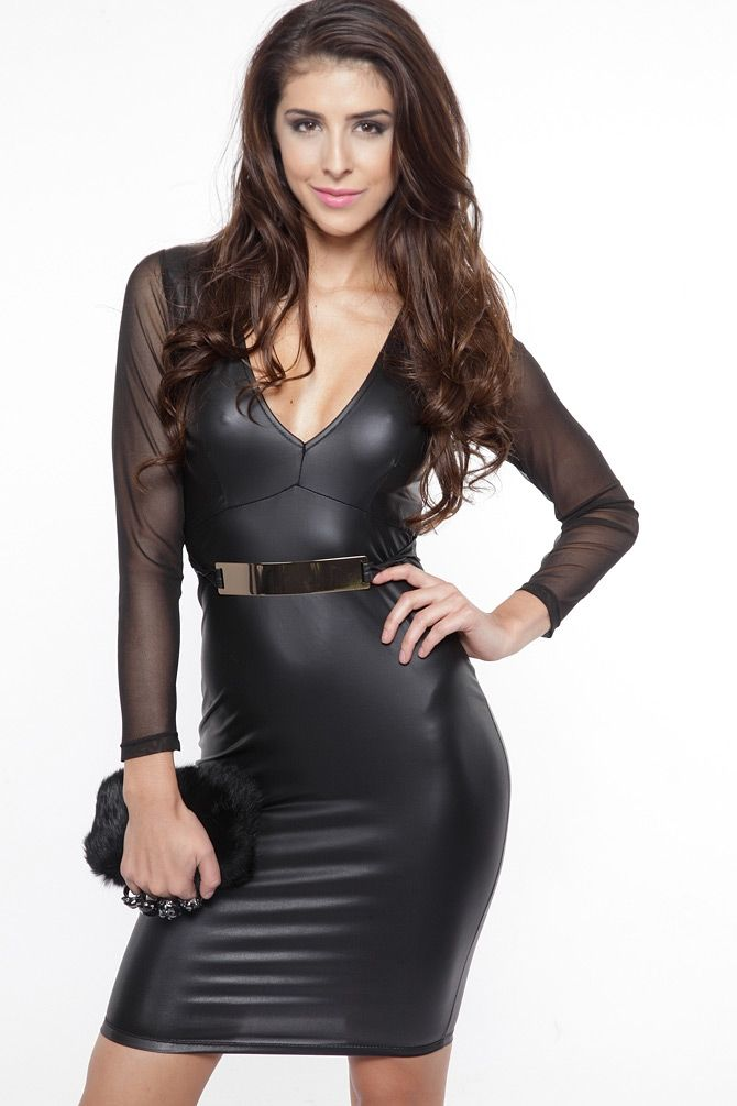 faux leather mesh sleeve gold plated dress item no clothing
