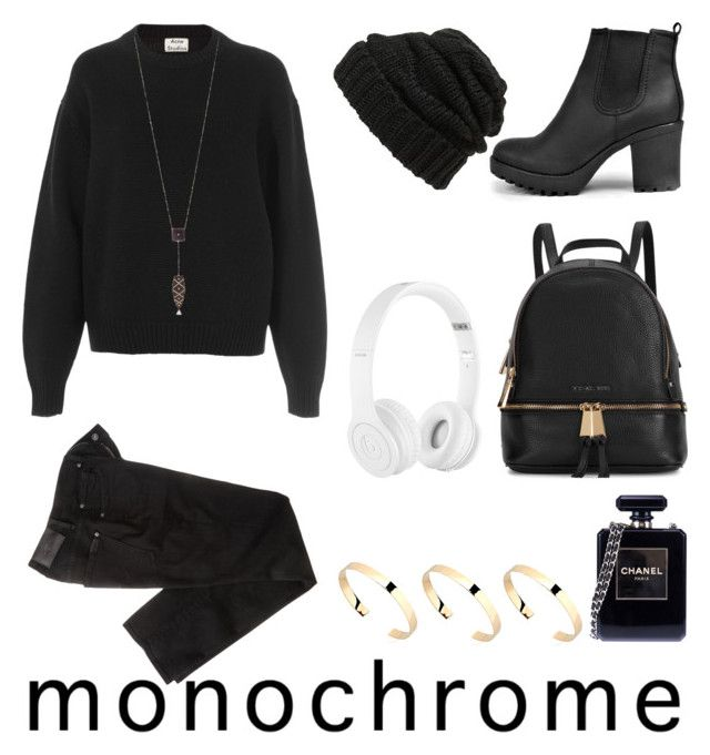 """""""Contest entry #monochrome"""" by bridgetcurzi on Polyvore featuring Beats by Dr. Dre, 7 For All Mankind, Michael Kors, Acne Studios, Leith, Freida Rothman, Boohoo, Chanel, Magdalena Frackowiak and monochrome"""