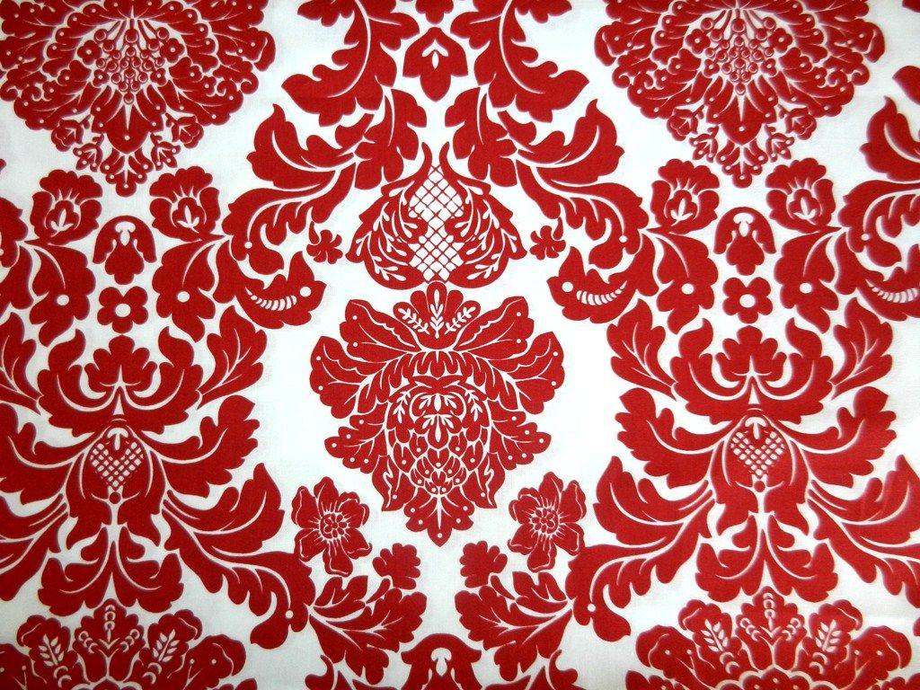 Damask Red by Trixie Momkey Damask wallpaper, White