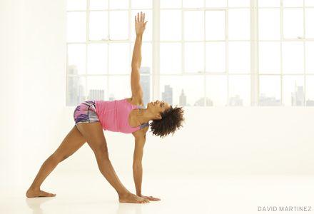 a delicate balance revolved triangle  basic yoga chakra
