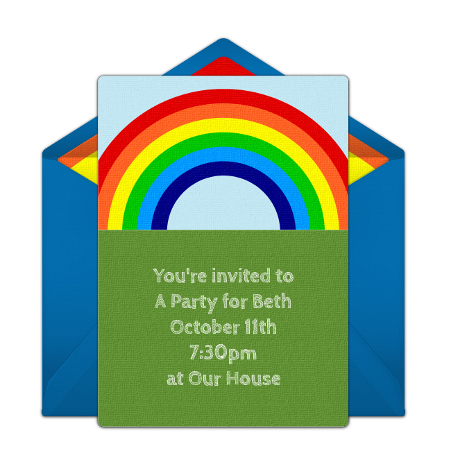 Customizable Free Rainbow Online Invitations Easy To Personalize And Send For A Party Punchbowl