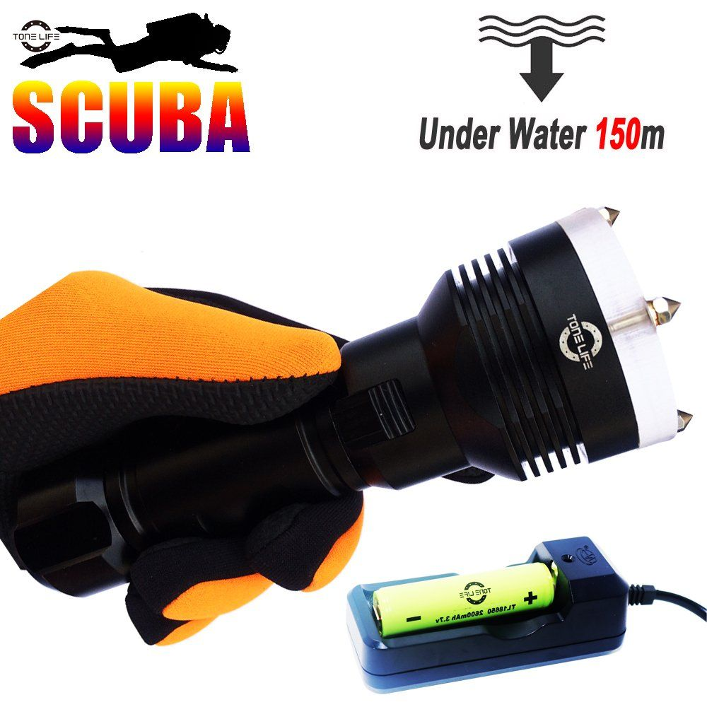 Tonelife [Expedited Shipping] Waterproof 1000 Lumens XM-L2 LED Diving Flashlight UnderWater 150m Depth Bright LED Lighting Lamp Dive Lights Torch for Diving(With Battery&Charger) -- Awesome products selected by Anna Churchill