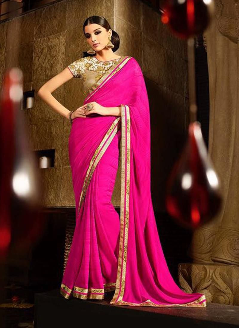 Deserving hot pink embroidered work jacquard designer saree the
