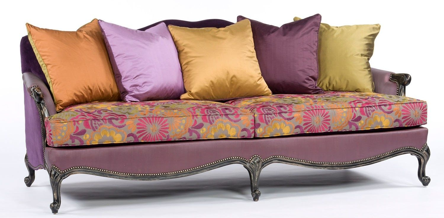 Color Block Fabric Carved Frame Chair Luxury furniture