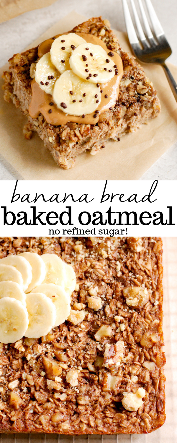 Give this healthy banana bread baked oatmeal recipe a try for breakfast when you're looking for something easy, quick, and protein packed! Made with rolled oats, ripe bananas, and a little maple syrup for natural sugar. #food #recipe #banana #bananabread #glutenfree #breakfast
